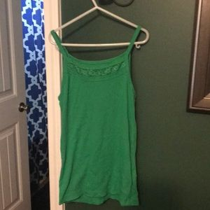 Girls Green Tank Top with Lace